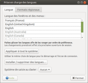 prise en charge des langues Ubuntu mate