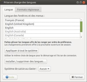 prise en charge des langues Ubuntu mate
