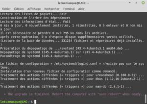 fin de la mise à niveau vers Linux Mint 20