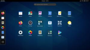 Menu des applications dans Gnome 3.38