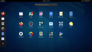 Menu des applications dans Gnome 3.38