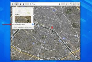 Gnome Map avec étiquettes dans vue satellite