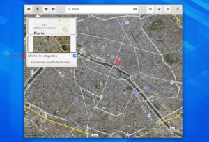 Gnome Maps avec étiquettes dans vue satellite