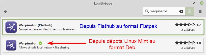 Warpinator dans logithèque Linux Mint 20