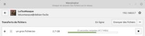 Warpinator : fichier en cours de réception