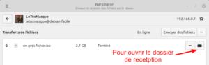Warpinator : réception fichier terminée