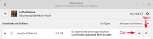 Warpinator : Validation transfert entrant