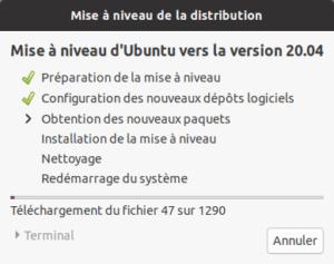 Application de la mise à niveau vers Ubuntu 20.10