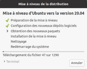 Application de la mise à niveau vers Ubuntu 20.10