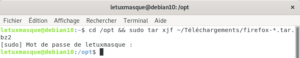 Décompression de l'archive Firefox dans le dossier /opt