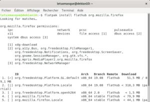 Installation Flatpak Firefox sur Debian