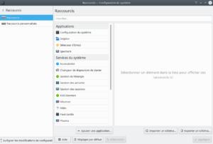 Configuration système -  Page raccourcis