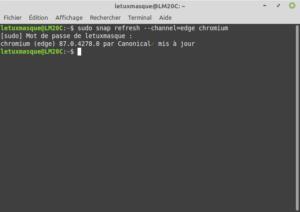 Exemple sous Linux Mint de la commande snap refresh --channel=edge chromium