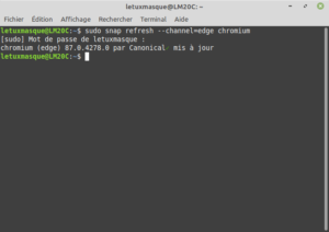 Exemple sous Linux Mint de la commande snap refresh --channel=edge chromium