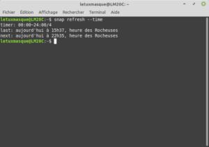 Exemple sous Linux Mint de la commande snap refresh --time