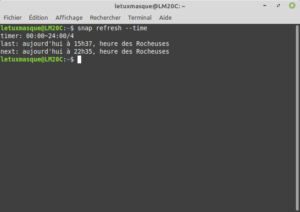 Exemple sous Linux Mint de la commande snap refresh --time