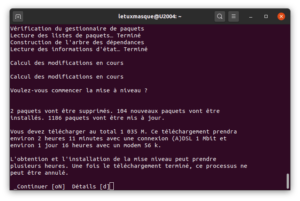 Confirmer l'application de la mise à niveau de Ubuntu