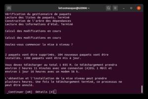 Confirmer l'application de la mise à niveau de Ubuntu