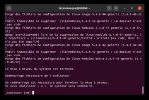 Redémarrage de fin de mise à niveau vers Ubuntu 20.10