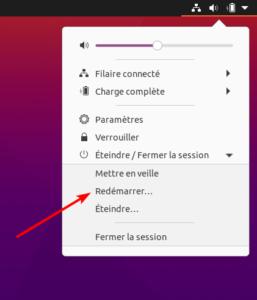 Bouton redémarrer sur Ubuntu 20.10