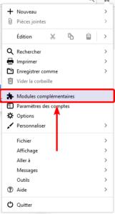 Accès modules complémentaires dans Thunderbird 78