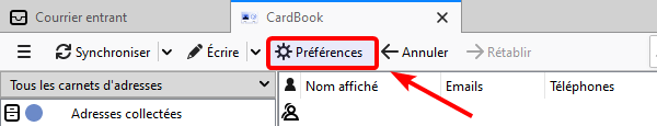 Accès préférences CardBook
