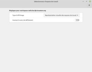 Page de configuration défilement workspace-switcher-applet dans Cinnamon 4.8