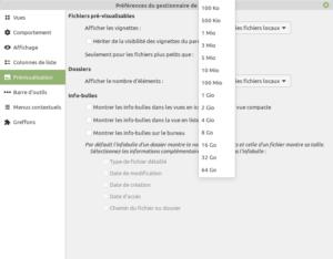 Configuration taille fichier pour création des vignettes