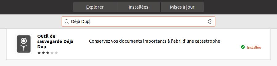 Déjà Dup dans Ubuntu Software