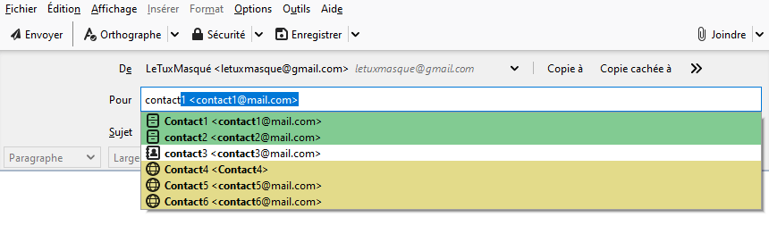 Envoyer mail - liste contacts depuis différents carnets adresses