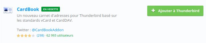 Module CardCook pour synchroniser contact Google avec Thunderbird