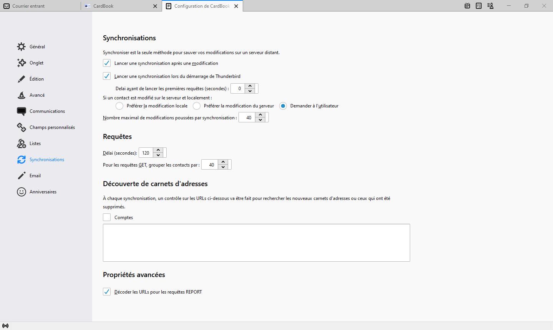 Préférences CardBook - Synchronisation