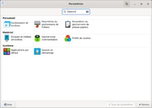 Recherche dans les paramètres de Xfce