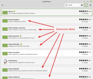 Exemple recherche d'extensions Nemo dans logithèque de Linux Mint