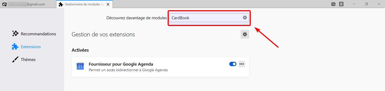 Rechercher le module CardBook dans Thundebird