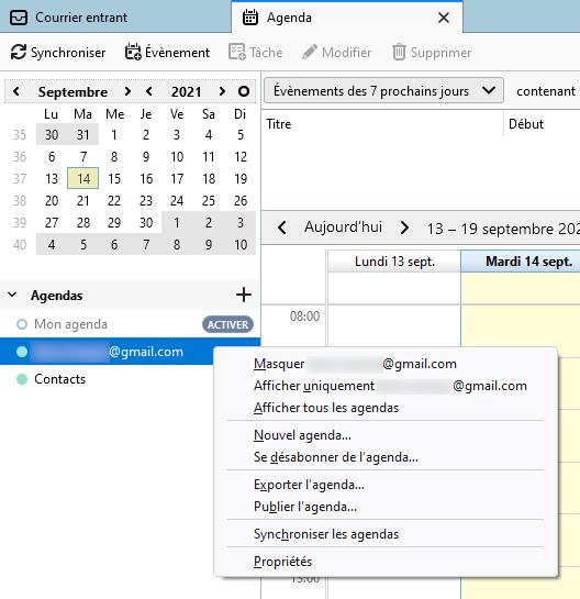 Thunderbird 91 - menu contextuel agenda