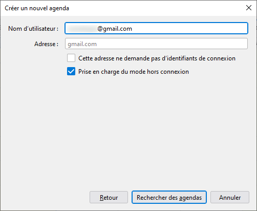 Thunderbird 91 - Google - rechercher agenda