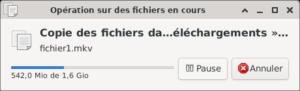 Fenêtre de transfert d'un fichier