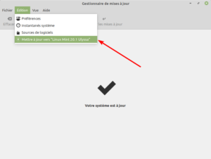 Accès menu mise à jour vers Linux Mint 20.1 Ulyssa