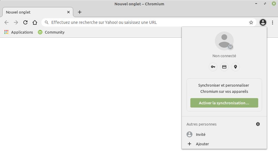 compte Google dans Chromium avec API synchronisation compte
