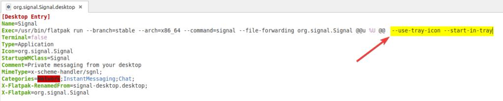 Modification du lanceur de Signal dans éditeur de texte sous Linux