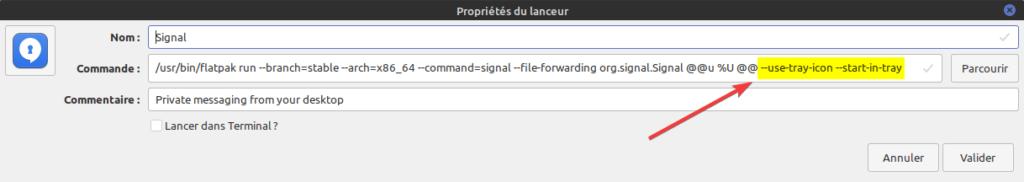 Modification lanceur Signal du Menu par GUI sous Linux Mint