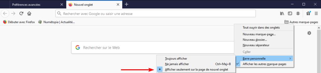 option affichage barre personnelle dans Firefox 85
