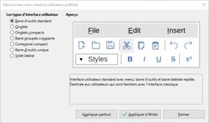 Choix interface utilisateur Standard