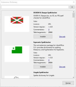 Exemple pour installer extensions de Dictionnaires dans LibreOffice 7.1