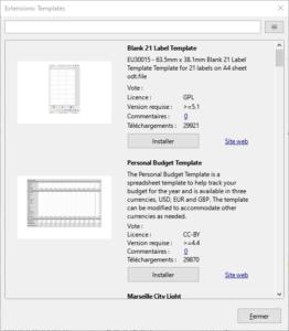 Exemple pour installer extensions modèles dans LibreOffice 7.1