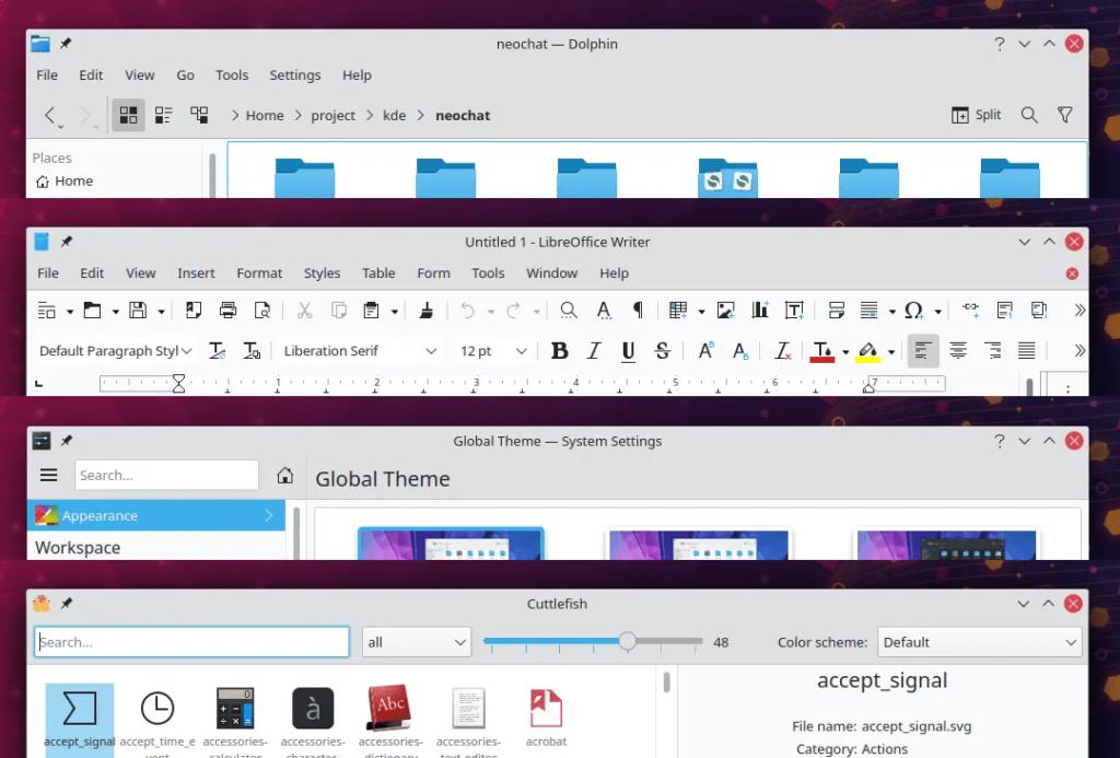 nouveau thème des barres d'en-tête dans KDE Plasma 5.21