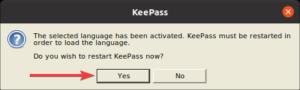 redémarrer Keepass pour appliquer la nouvelle langue séléctionnée