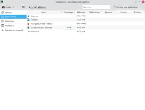 Surveillance du système - page applications