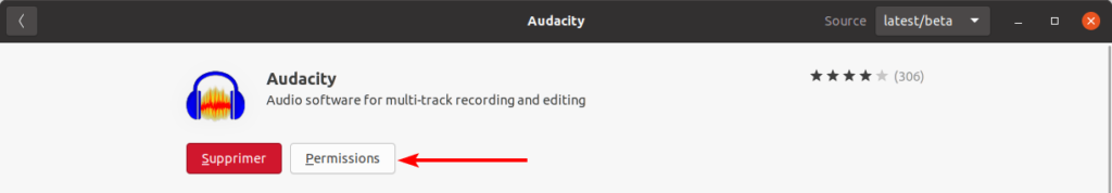 Accès aux permissions du paquet snap Audacity dans Ubuntu Software